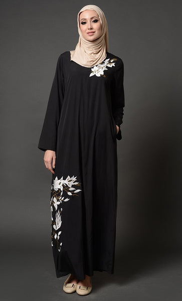 Floral Embroidered Arabian Abaya Dress - EastEssence.com