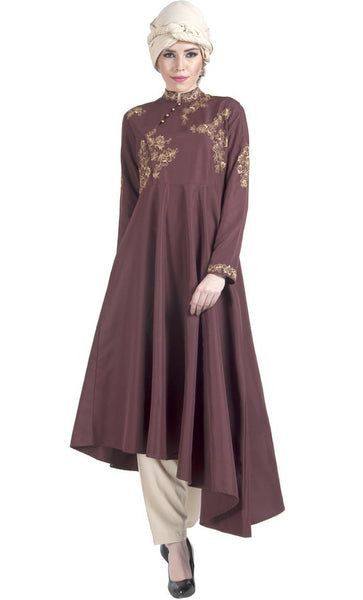 Floral Embroidered Asymmetrical Hem Tunic - EastEssence.com