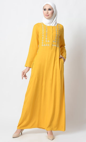 Floral Embroidered Basic Muslimah Abaya Dress - EastEssence.com