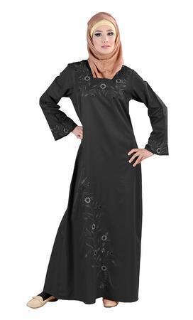 Floral Embroidered Elegant Abaya Dress - EastEssence.com