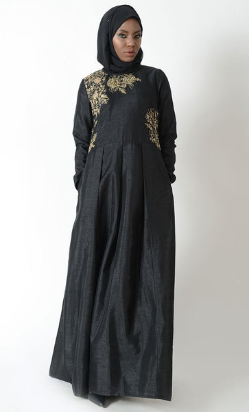 Floral embroidered fit and flared tradtitional abaya dress - EastEssence.com