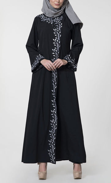 Floral embroidered flapover paneled abaya dress - EastEssence.com