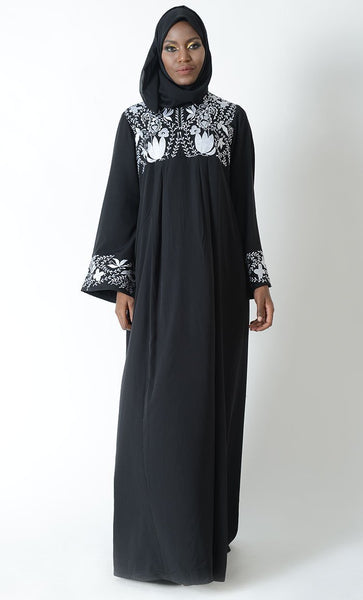 Floral Embroidered Flared Abaya Dress - EastEssence.com