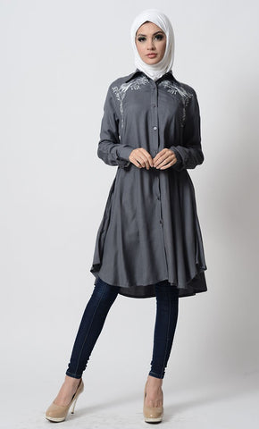 Floral Embroidered High Low Shirt Style Tunic - EastEssence.com