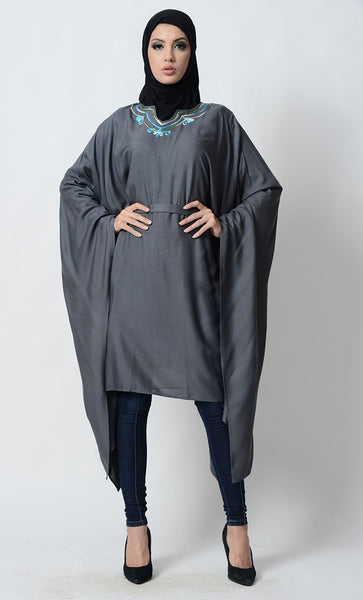 Floral Embroidered Kaftan Style Belted Tunic - EastEssence.com