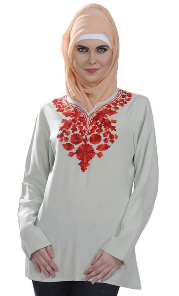 Floral Embroidered Kashmiri Tunic - EastEssence.com