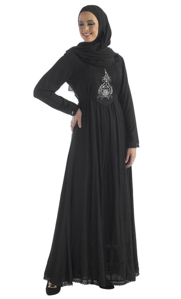 Floral embroidered motif and laced trims abaya dress - EastEssence.com