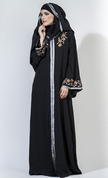 Floral embroidered motifs front open abaya dress and hijab set - EastEssence.com