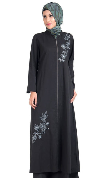 Floral Embroidered Motifs Front Zipper Tunic - EastEssence.com