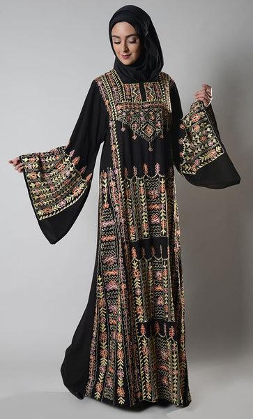 Floral Embroidered Palestinian Jordanian Dres - EastEssence.com