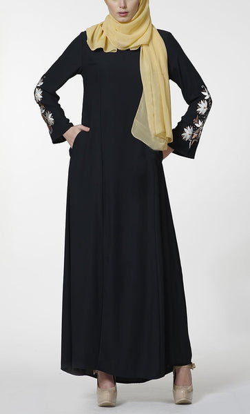 Floral embroidered sleeves detail abaya dress - EastEssence.com