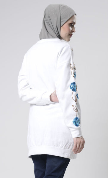 Floral Embroidered Sweater - EastEssence.com
