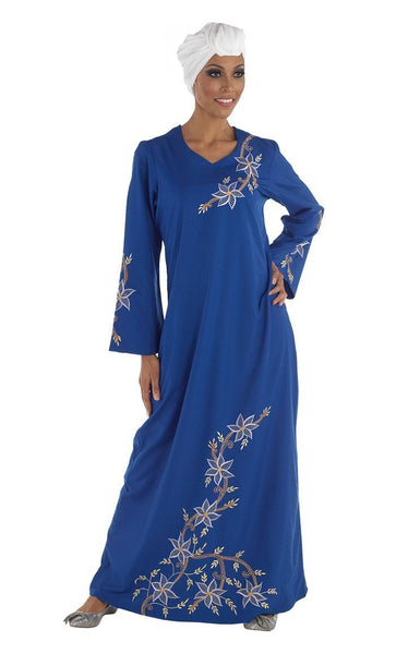 Floral Embroidered Traditional A Line Abaya Dress - EastEssence.com