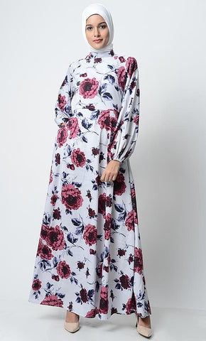 Floral Garden Printed Everyday Abaya-White - EastEssence.com