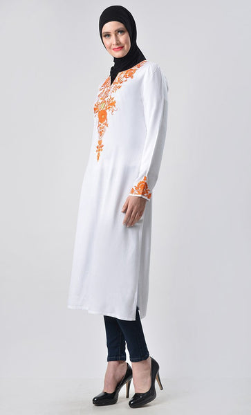 Floral Heavy Embroidered Tunic - EastEssence.com