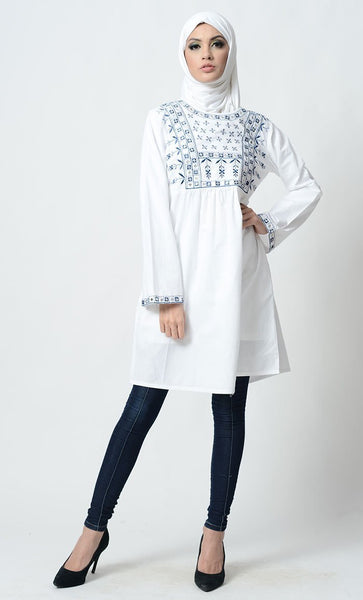 Floral Jaal Pattern Embroidered A Line Tunic - EastEssence.com