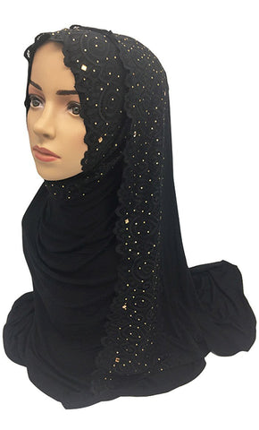 Floral Lace Embroidered Hijab Stole - EastEssence.com