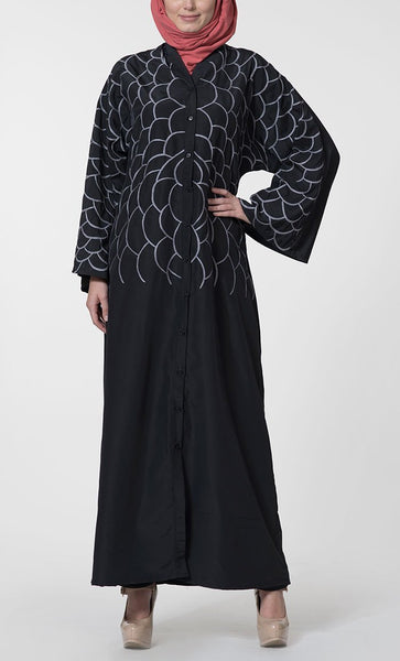 Floral Printed Fancy Sleeves Detail Long Abaya Dress - EastEssence.com