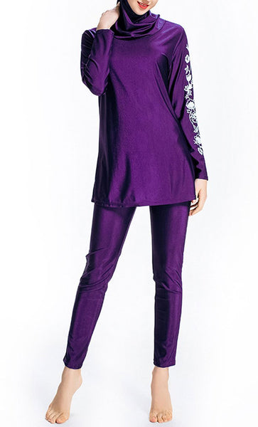Floral Printed Swimwear Burkini (Violet)-*Size Up* - EastEssence.com