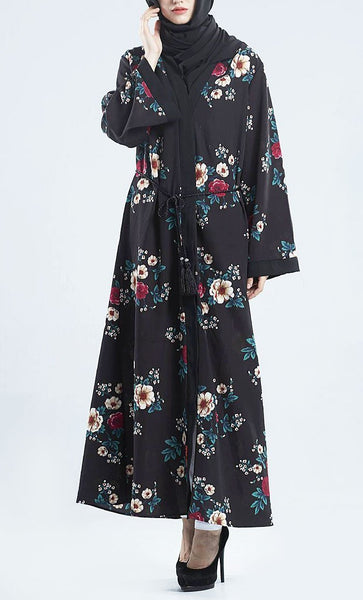 Floral Printed Wrap Around Bisht Abaya Dress - EastEssence.com