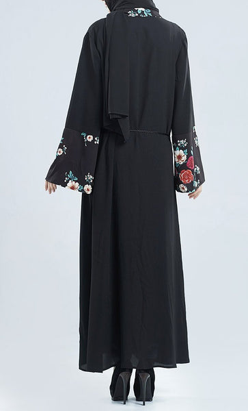 Floral Printed Wrap Around Front Open Bisht Dress - EastEssence.com