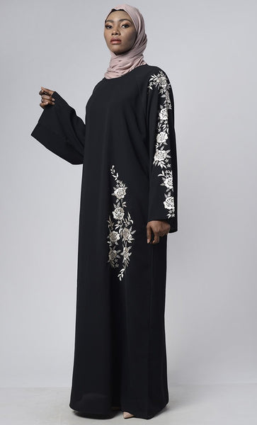 Floral Thread Embroidered Dubai Abaya - EastEssence.com