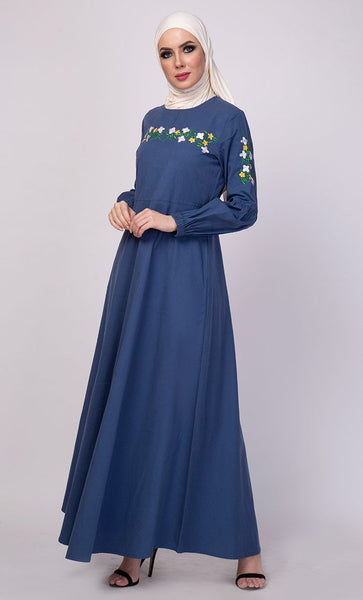 Floral Thread Embroidered Everyday Abaya Dress - EastEssence.com