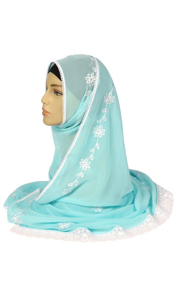 Floral Thread Embroidered Hijab Stole - EastEssence.com