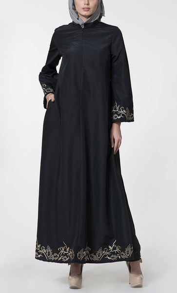 Floral thread embroidered traditional abaya dress - EastEssence.com