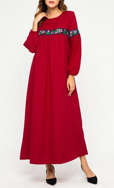 Floral Threadwork Basic Abaya Dress - EastEssence.com