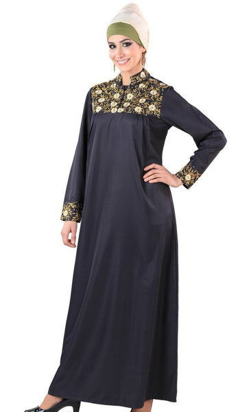 Floral tradtional embroidered A line ethnic wear abaya dress - EastEssence.com