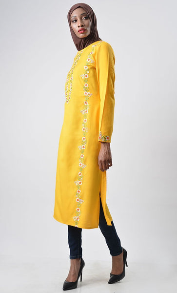 Floral Veil Embroidered Kurta Tunic - EastEssence.com