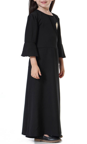 Flounce Sleeve Girls Abaya (Black)-*Size Up* - EastEssence.com