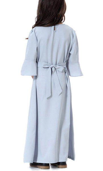 Flounce Sleeve Girls Abaya (Gray)-*Size Up* - EastEssence.com