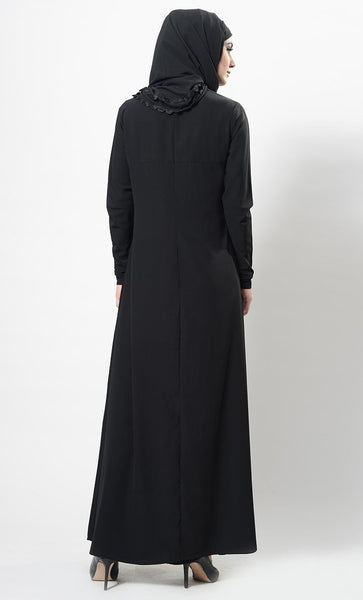 Flow with lace abaya + Free Hijab - EastEssence.com