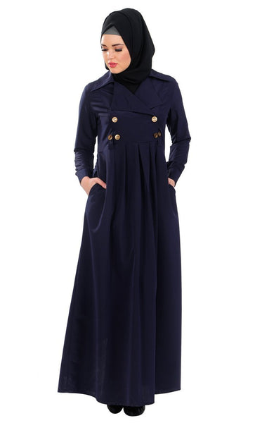 French Style Wrap Around Flared Abaya Dress - EastEssence.com