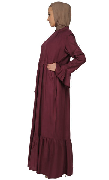 Frilled And Two Tiered Abaya Dress - EastEssence.com
