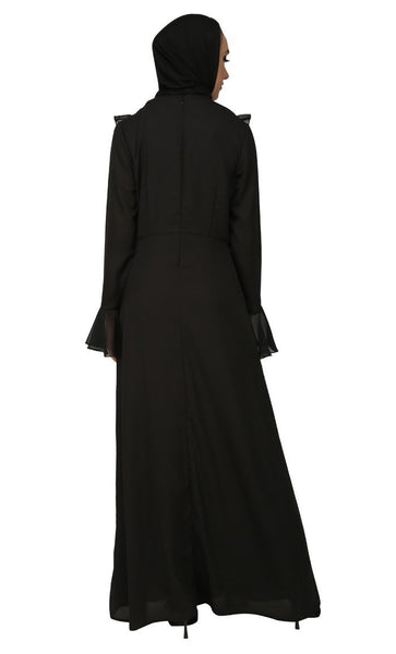 Frilled Detail Work Abaya Dress - EastEssence.com