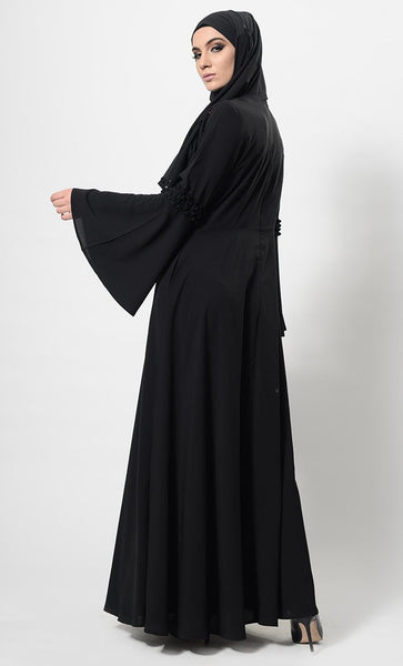 Frilled Panels Front Yoke Abaya Dress And Hijab Set - EastEssence.com