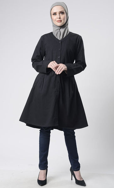 Front Button Down Basic Tunic - EastEssence.com