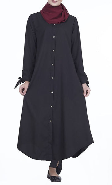 Front Button Down Everyday Tunic (Black)- *Size Up* - EastEssence.com