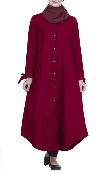 Front Button Down Everyday Tunic (Burgundy)- *Size Up* - EastEssence.com