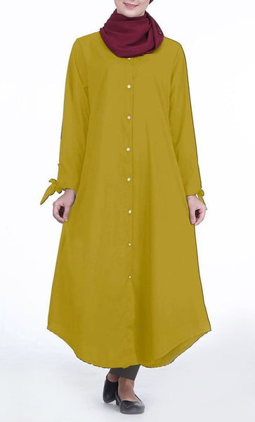 Front Button Down Everyday Tunic (Mustard)- *Size Up* - EastEssence.com