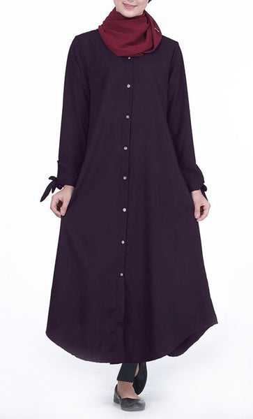 Front Button Down Everyday Tunic (Navy)- *Size Up* - EastEssence.com