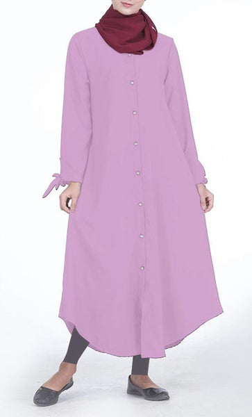 Front Button Down Everyday Tunic (Pink)- *Size Up* - EastEssence.com