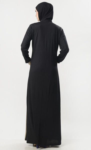 Front Button Down Jersey Modest Abaya - EastEssence.com