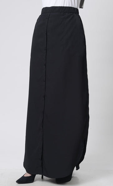 Front button elastic waist fit skirt - EastEssence.com