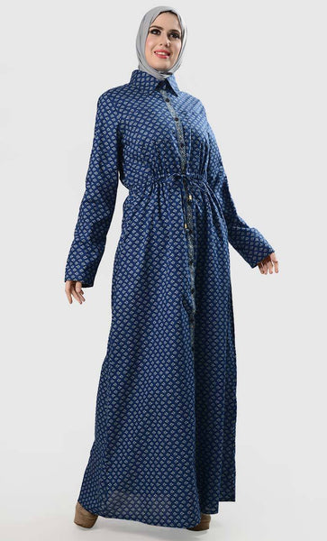 Front Buttondown Overall Printed Everyday Abaya - EastEssence.com