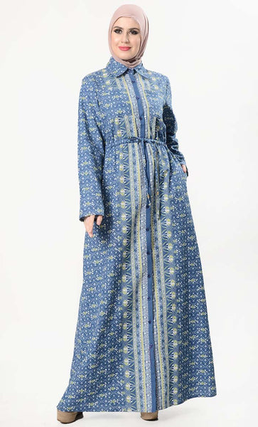 Front Buttondown Paisley Printed Everyday Abaya - EastEssence.com
