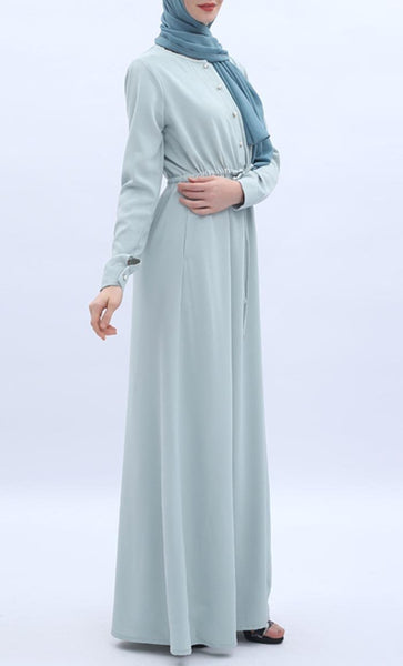 Front Drawstring Casual Abaya - Mint Green - *Size Up* - EastEssence.com